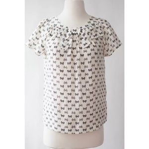 J.Crew Bow-Neck Silk Top in Bow Print